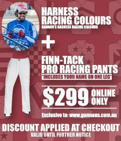 Gannon's Harness Racing Colours and Finn-Tack Pants Offer