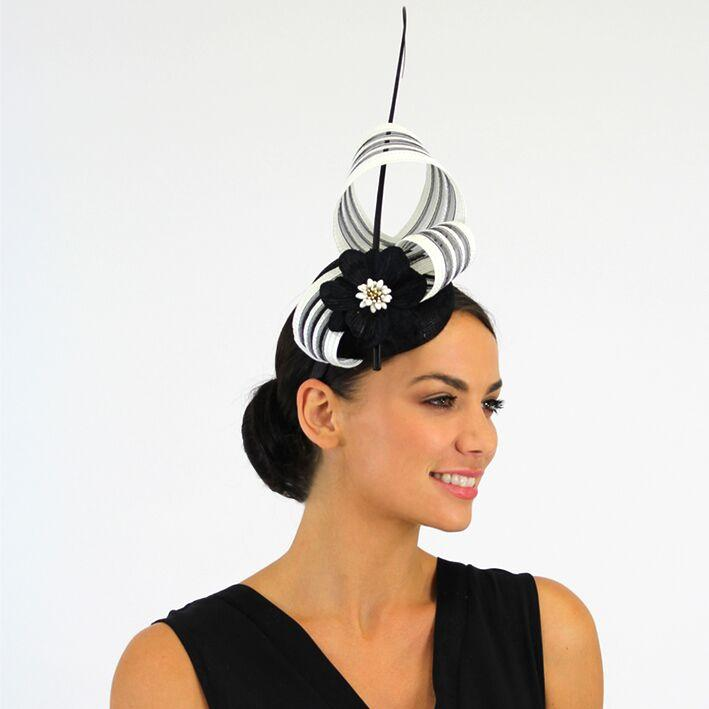 Jendi Fascinator (Black/White)