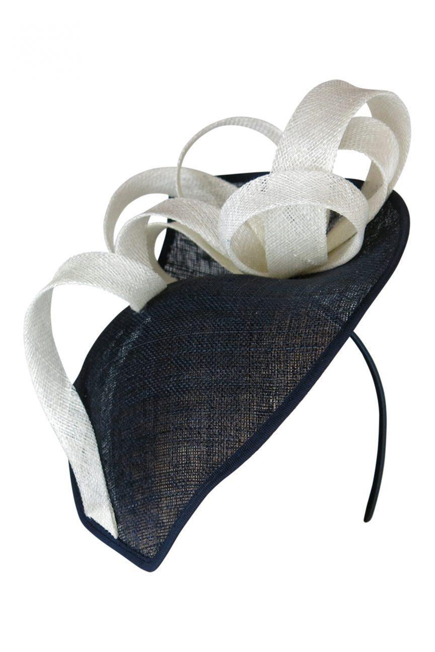 Paula Fascinator (Navy/Cream)